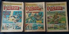 Lot of 3 issues of THE VICTOR weekly British comic book 1965