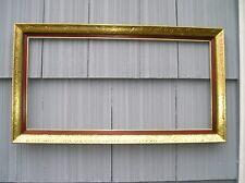 Antique Vintage Mid Century Modern Gold Swirl Edge w Red Picture Frame 12 x 24