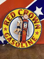 1938 VINTAGE STYLE ''RED CROWN''  GAS & OIL PUMP PLATE 12 INCH PORCELAIN SIGN