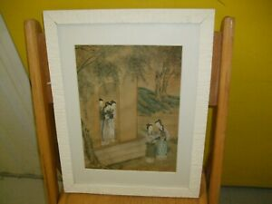 ANTIQUE CHINESE HAND PAINTED ON SILK THREE MANCHU/ CHINESE GIRLS QING DYNASTY