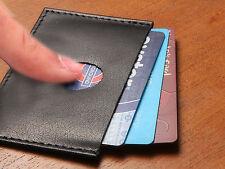 MENS BLACK LUXURY ULTRA SLIM DESIGN REAL LEATHER BUSINESS ID/CREDIT CARD HOLDER