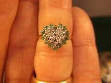 GORGEOUS LADIES 14K YELLOW GOLD RING WITH DIAMOND & EMERALD HALO SHAPED HEART