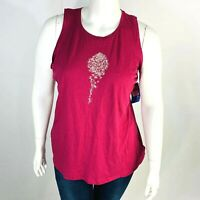 Columbia Womans Sz 1X June Day Tank Top Maroon Tank Stretch Floral NWT