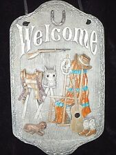 WELCOME Sign SLATE Plaque Outdoor Home PORCH Horse RANCH Farm Country COWBOY