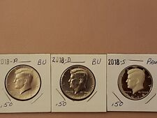 2018~P~D~&S~BU~&~PROOF COINS FROM US MINT SET~ CLAD~KENNEDY~HALF~ DOLLAR~ IN 2X2