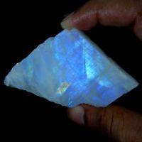 100% Natural Blue Fire Rainbow Moonstone Rough Slab Cabochon Loose Gemstone JG44