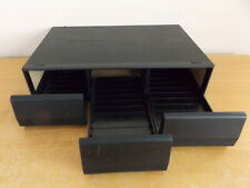 Vintage Black Ash Wood Effect: 3 Drawer Cassette Storage Box Unit