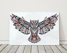owl with pattern and watercolour background design printed framed canvas picture
