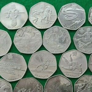 50P COINS COIN HUNT-Olympic,Beatrix,Kew,Football,Judo,Wrestling,Triathlon,Rowing