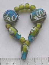 13 x Lime verde, azzurro blu, bianco, vetro di Murano perle di vetro 42 GMS. 113