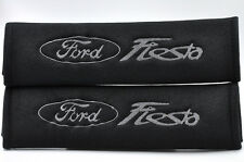 Gray on Black Seat Belt Cover Shoulder Pad Pairs w/ Embroidery for Ford Fiesta