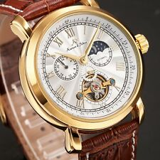 KS Casual Men's Tourbillon Brown Leather Band Round Dial Automatic Wrist Watch