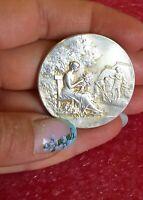 1890 Paris Frédéric-Charles-Victor de Vernon Art Nouveau Silver French medal