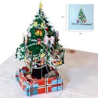 3D Up Karte Weihnachtsbaum Gruß Baby Geschenk Urlaub glücklich handgemachte O9F5