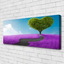 Leinwand-Bilder Wandbild Canvas Kunstdruck 125x50 Wiese Fußpfad Baum Natur