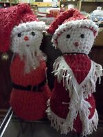 MR & MRS CLAUS, Handmade POLY FILL 2' TALL WITH REMOVABLE HATS ONE OF A KIND