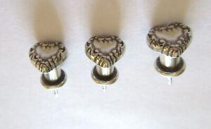 Brighton Push Pins- Set of Three- silver color- Heart Shape- pretty edge design