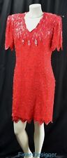 Laurence Kazar gown formal knee dress RED silk heavy beaded jagged hems VTG S M