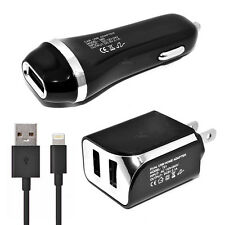 T-Mobile Apple iPhone 7 USB 2.1 amp Car+Wall Adapter+5 FT Data Cable Black
