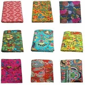 Indian Handmade Kantha Quilt Vintage Queen Gudri Throw Cotton Bedspread Blanket