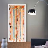 3D Self-Adhesive Rustic Wood Door Mural Wall Sticker Bedroom Wallpaper Poster