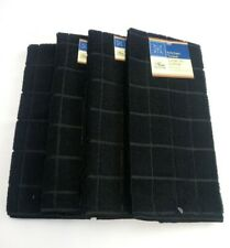Kitchen Dish Hand Towels Brand New Windowpane Solid Black Color- Set of 4!