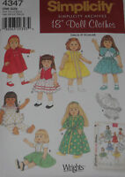 "Doll Clothes Vintage Style 18"" Doll Simplicity 4347 Sewing Pattern NEW"