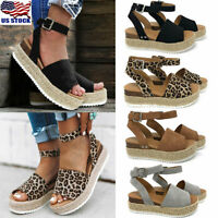 Women's Wedge Heels Ankle Strap Sandals Ladies Casual Open Toe Espadrilles Shoes