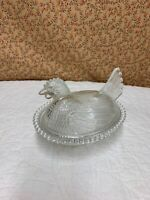 Vintage Indiana Glass Clear Chicken Hen on Nest Covered Dish