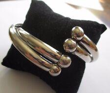 bracelet bijou rétro rigide double décor perle couleur argent poli *3510