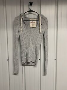 Hollister Womens Light Grey Long Sleeve Cable Knit Hooded Sweater v Neck size S