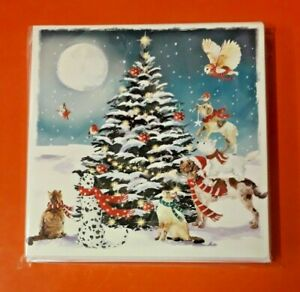 PEACE HOSPICE CARE CHRISTMAS CARDS 2021 ~FESTIVE ANIMALS AROUND THE TREE~10 PACK