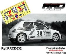 DECAL/CALCA 1/43; Peugeot 106 Rallye; Vallejo-Vallejo; Rally Catalunya 1995