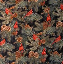 RJR Thimbleberries Winter Pines #1561 Cardinal Birds Holiday Cotton Fabric YARD