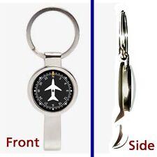 Airplane Airline Pilot Cockpit Gauge Pennant Keychain secret bottle opener