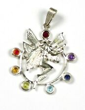 Chakra Fairy Pendant - silver with colorful gemstones - Gift packaged!