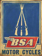 BSA MOTOR CYCLES ADVERTISING METAL SIGN