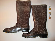 UGG CHINOOK WOMEN'S RUBBER WATERPROOF RAIN BOOT 1014452 BROWN WITH DOTS SIZE 5