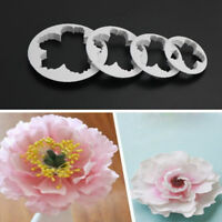 4PCS Peony Petals Pattern Flower Sugar Fondant Mold Cookie Cutter Cakes Deco Tw