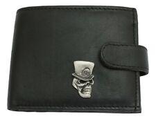 Rip Skull Leather Wallet BLACK Card Slots Mens Present Halloween Gift 413