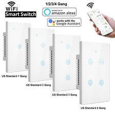 1/2/3 Gang casa inteligente Wi-Fi Interruptor De Luz De Pared Panel Táctil Para Amazon Alexa Google
