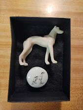 Antique Plastic Italian Greyhound Whippet Dog Toy Vintage Porcelain Box
