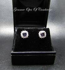 9ct ORO IOLITE E Diamante Orecchini a Perno Cluster 1.7g