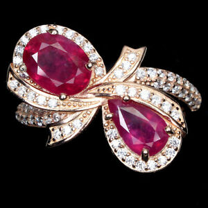Oval 8x6 Mm Red Pink Ruby White Cz 14K Rose Gold Plate 925 Silver Ring Size 7.5