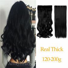 """25"""" 100% Thick 120g Clip In Hair Extensions Dark Black Full Head Human Hair Aoc"""