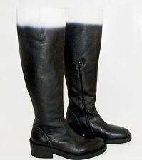 Ann Demeulemeester Black White Degrade Ombre Leather Stacked Platform Boots 37.5