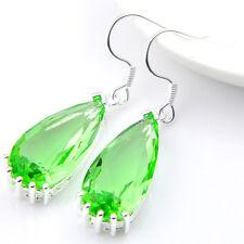 Jewelry Water Drop Bright Green Peridot Gems Silver Dangle Hook Earrings