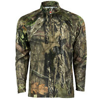 Mossy Oak Men's Camo Hunt Tech 1/4 Zip Long Sleeve Shirt