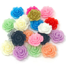 20x 20mm Resin Roses Flatbacks Craft Cardmaking Rose Embellishments -12 Colours