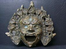 (eN422) Tibet :  Old brass Daikokuten Mahakala Buddhahead Mask